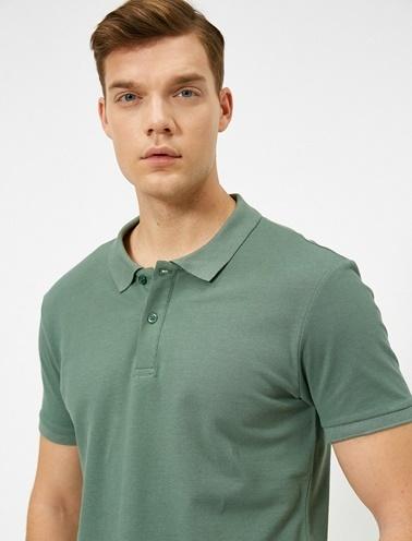 Koton Polo Yaka Kisa Kollu Slim Fit Basic T-Shirt Yeşil